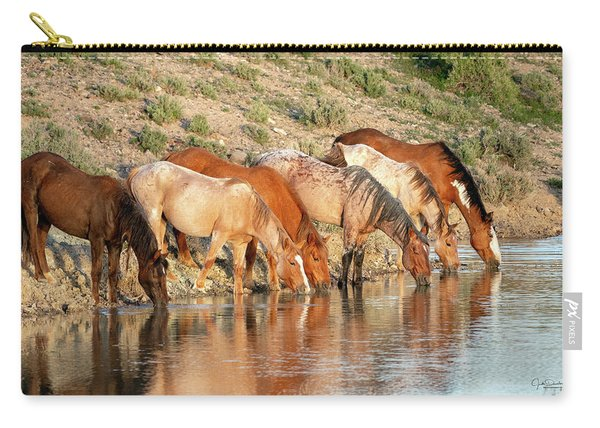Lineup At The Pond-- Wild Horses Carry-all Pouch