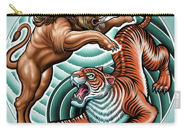 Lion And Tiger  Carry-all Pouch