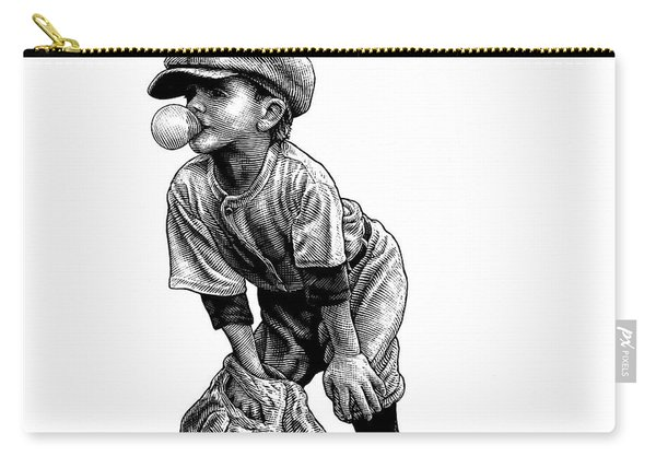 Carry-all Pouch featuring the drawing Little Leaguer by Clint Hansen