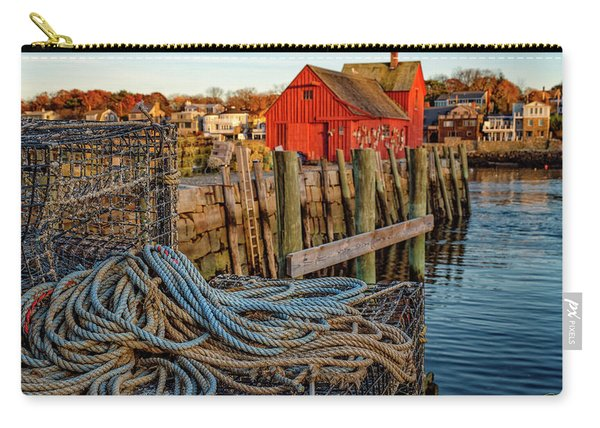 Carry-all Pouch featuring the photograph Lobster Traps And Line At Motif #1 by Jeff Sinon
