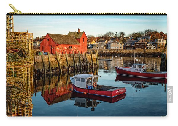 Carry-all Pouch featuring the photograph Lobster Traps, Lobster Boats, And Motif #1 by Jeff Sinon