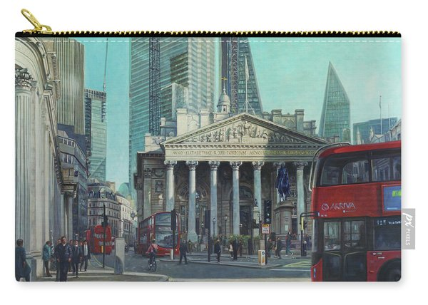 Carry-all Pouch featuring the painting London City Bank Area In Sunny Autumn by Martin Davey