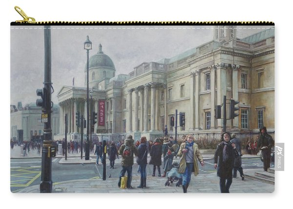 Carry-all Pouch featuring the painting London National Gallery In The Winter by Martin Davey