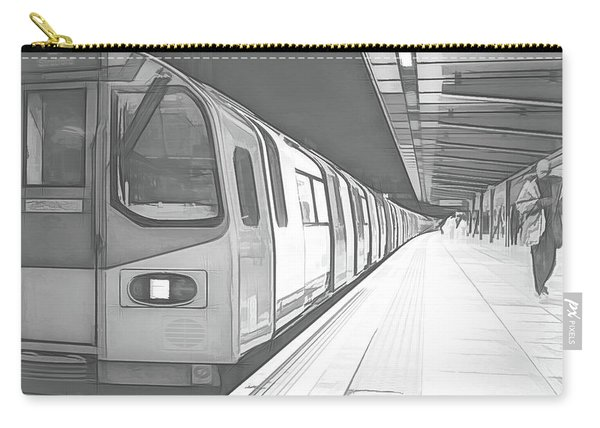 London Underground Train At Station Balck And White Sketch Carry-all Pouch