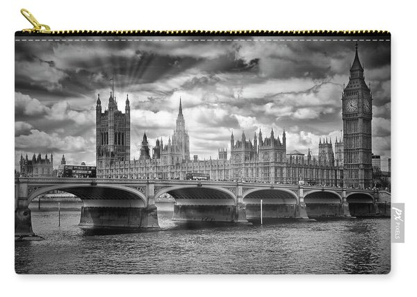 London Westminster Bridge Sunrays - Monochrome Carry-all Pouch