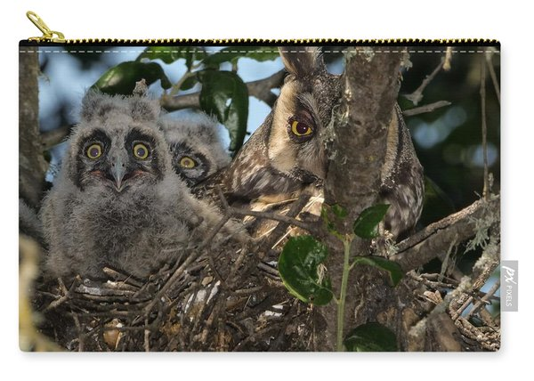 Long-eared Owl And Owlets Carry-all Pouch
