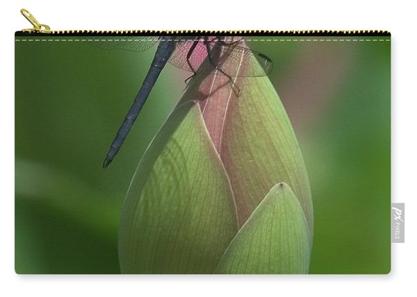 Lotus Bud And Slaty Skimmer Dragonfly Dl0006 Carry-all Pouch