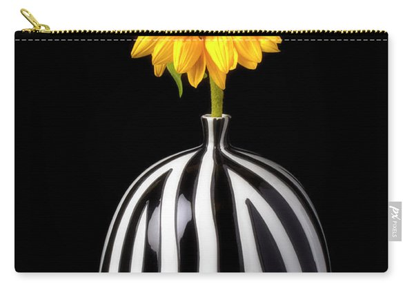 Lovely Sunflower In Striped Vase Carry-all Pouch