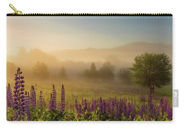 Carry-all Pouch featuring the photograph Lupine In The Fog, Sugar Hill, Nh by Jeff Sinon