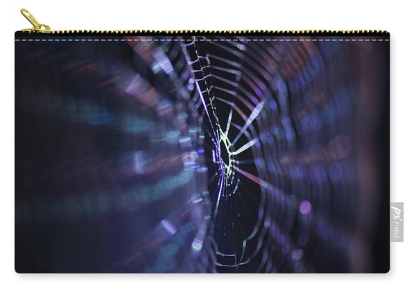 Macro Of A Spiders Web Captured At Night. Carry-all Pouch