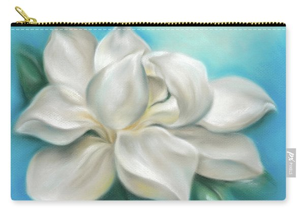 Magnolia Grandiflora Flower On Blue Carry-all Pouch