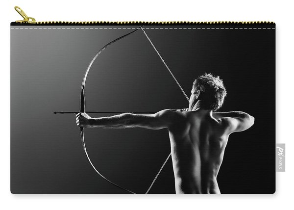Male Archer Drawing Long Bow Carry-all Pouch