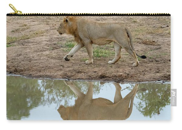 Male Lion And His Reflection Carry-all Pouch