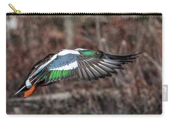 Male Northern Shoveler In Flight Dwf0182 Carry-all Pouch
