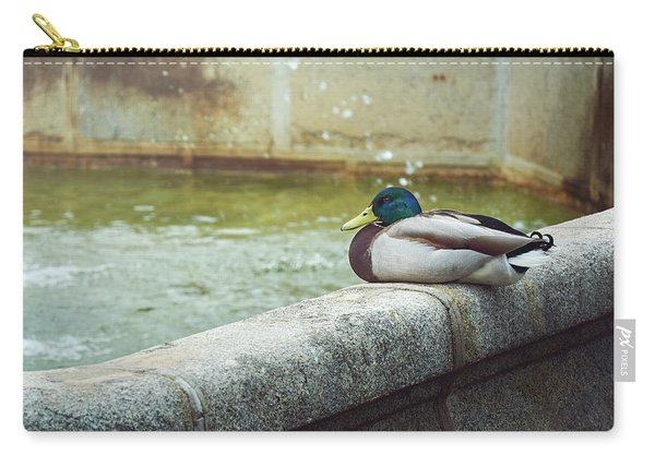 Mallard Resting On The Fountain Of The Fallen Angel In The Retiro Park - Madrid, Spain Carry-all Pouch