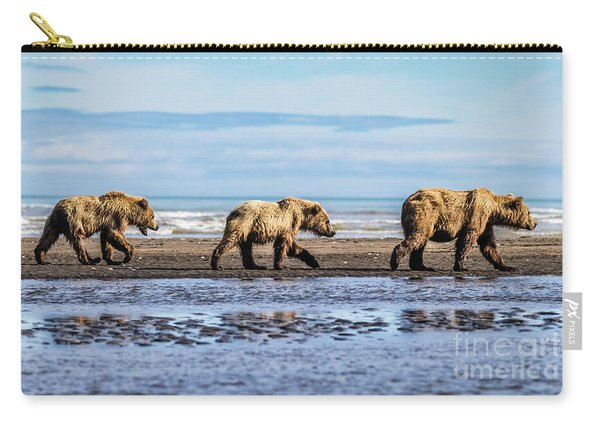 Mama Bear And Her Two Cubs On The Beach. Carry-all Pouch