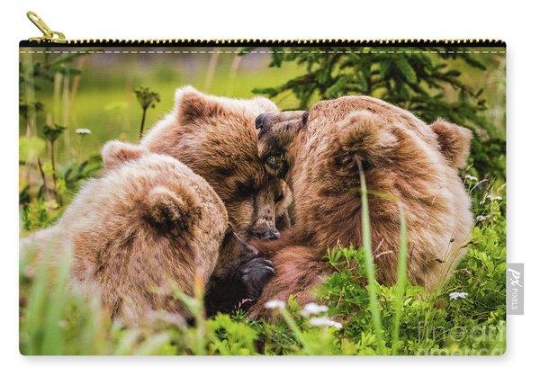 Mama Bear Nursing Her Two Cubs, Lake Clark National Park, Alaska Carry-all Pouch