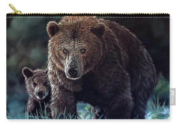Mama Brown With Cubs Carry-all Pouch