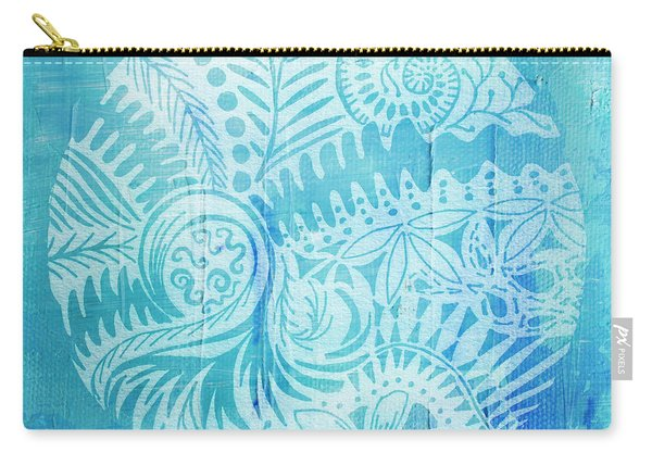 Mandala In Blue And White Carry-all Pouch