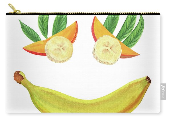 Mango Banana Smile Watercolor Food Illustration  Carry-all Pouch