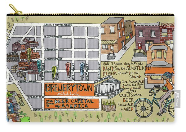 Map Of Brewerytown, Philadelphia Carry-all Pouch