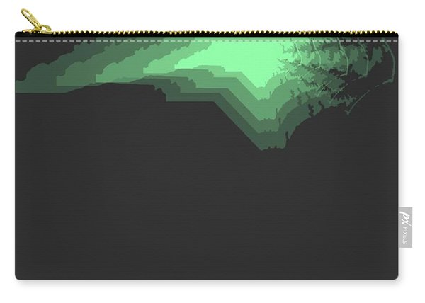 Map Of North Carolina, Green Carry-all Pouch