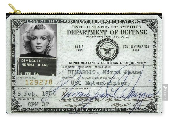 Marilyn Monroe Dept Of Defense Identification Card 1954 Carry-all Pouch
