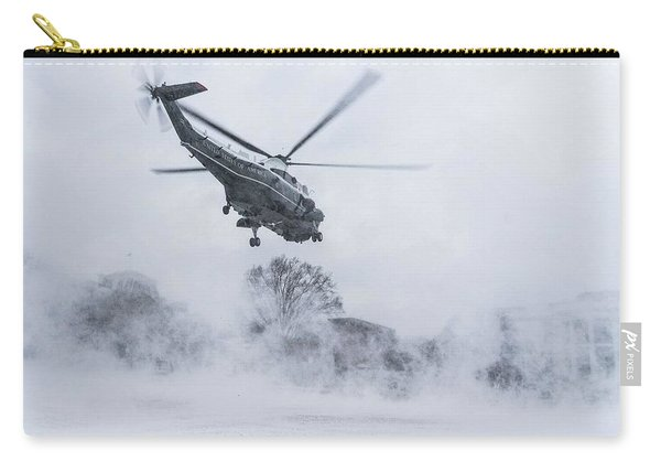 Marine One Creates A Snow Blizzard As It Approaches For A Landing On The South Lawn Of The White Hou Carry-all Pouch
