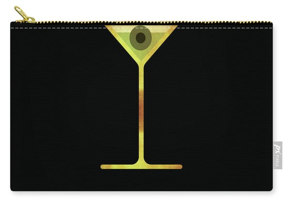 Martini - Cocktail - Classic Cocktails Series - Black And Gold - Modern, Minimal Decor Carry-all Pouch