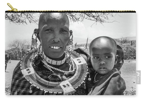 Masaai Mother And Child Carry-all Pouch