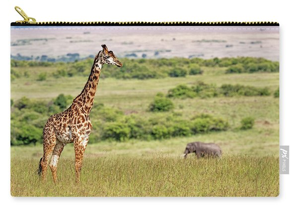 Masai Giraffe And Elephant In Kenya Africa Carry-all Pouch