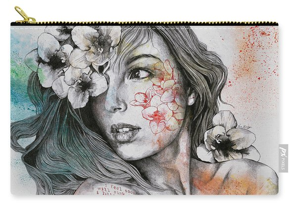 Mascara - Expressive Female Portrait With Freesias Carry-all Pouch