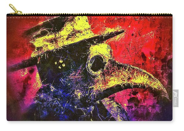 Carry-all Pouch featuring the mixed media Plague Mask  by Al Matra