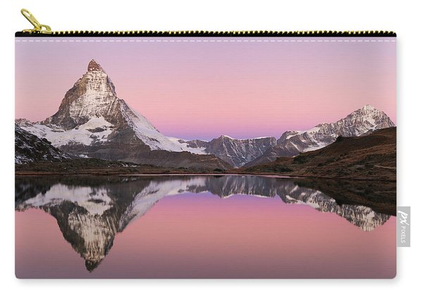 Matterhorn At Sunrise With Reflection, Valais, Switzerland Carry-all Pouch