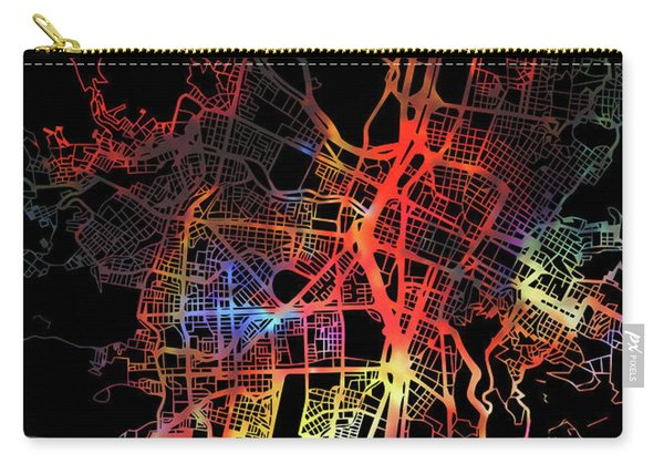 Medellin Colombia Watercolor City Street Map Dark Mode Carry-all Pouch