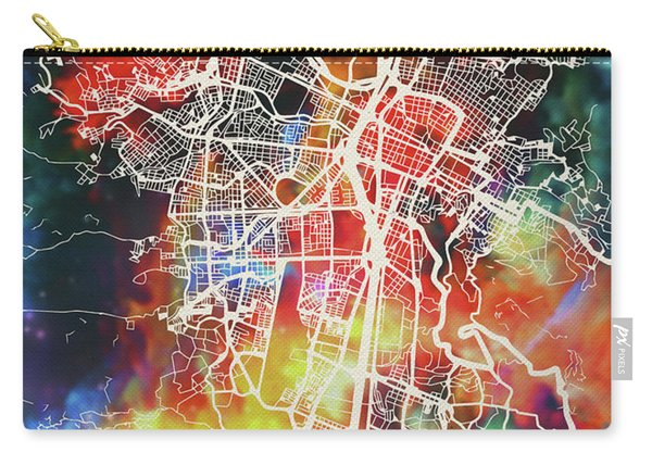Medellin Colombia Watercolor City Street Map Carry-all Pouch