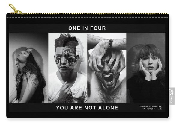 Carry-all Pouch featuring the digital art Mental Health Awareness - You Are Not Alone by ISAW Company