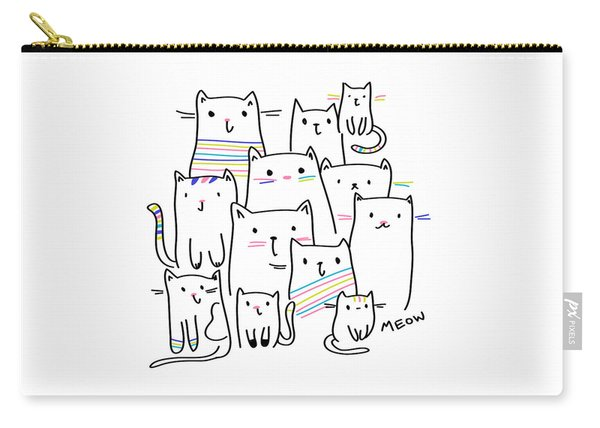 Meow Kitties - Baby Room Nursery Art Poster Print Carry-all Pouch