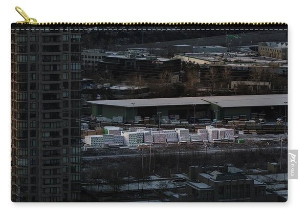 Carry-all Pouch featuring the photograph Merchandise Beside A Railroad Track  by Juan Contreras