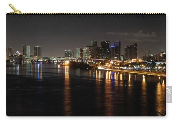 Miami Lights At Night Carry-all Pouch