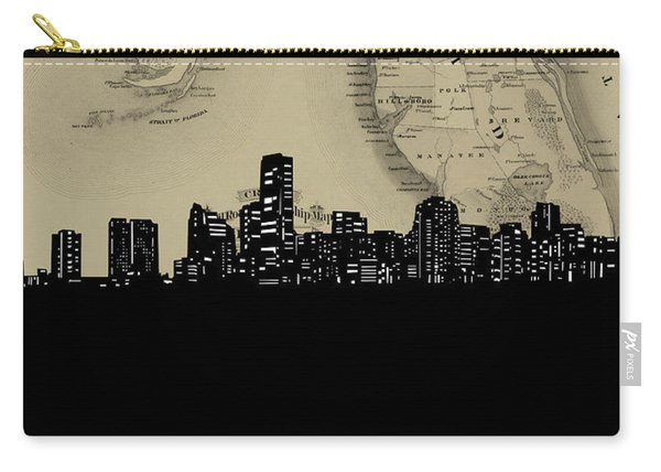Miami Skyline Map Carry-all Pouch