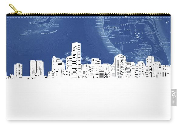 Miami Skyline Map Blue Carry-all Pouch