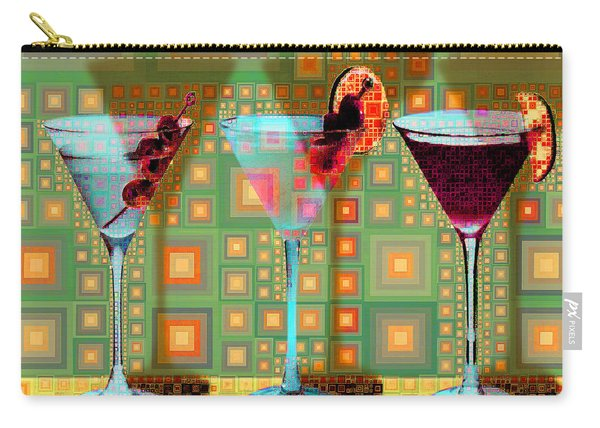 Mid Century Modern Abstract Mcm Three Martinis Shaken Not Stirred 20190127 V1 Square Carry-all Pouch