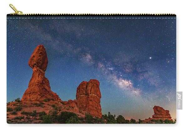 Milky Way Over Balanced Rock At Twilight Carry-all Pouch
