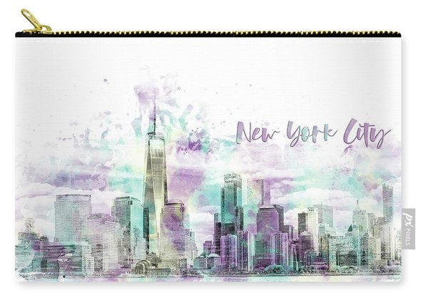 Modern Art Nyc Manhattan Skyline - Jazzy Watercolor  Carry-all Pouch