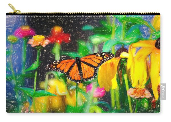 Carry-all Pouch featuring the photograph Monarch Butterfly Colored Pencil by Don Northup