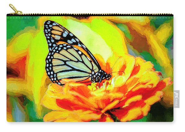 Carry-all Pouch featuring the photograph Monarch Butterfly Van Gogh Style by Don Northup