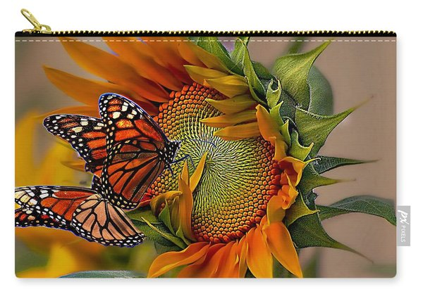 Monarchs And Sunflower Carry-all Pouch