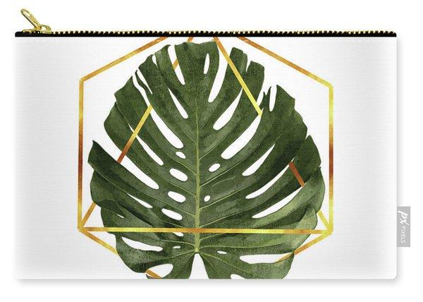 Monstera Leaf Pattern - Tropical Leaf Pattern - Green - Gold Geometric Shape - Modern, Minimal Carry-all Pouch