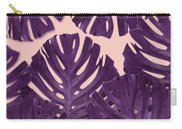 Monstera Leaf Pattern - Tropical Leaf Pattern - Purple - Tropical, Botanical - Modern, Minimal Decor Carry-all Pouch
